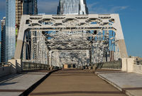 John Seigenthaler pedestrian bridge or Shelby street crossing at sunrise in Nashville