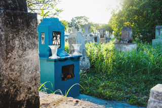 Field with abandoned tombstones in high grass at the cemetery 'Cementerio General' in Merida, Mexico