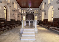 Interior of historic Jewish Maimonides Synagogue or Rav Moshe Synagogue with altar in front, Cairo Egypt