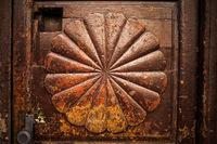 Fan Radial Shape On Vintage Old Wooden Door
