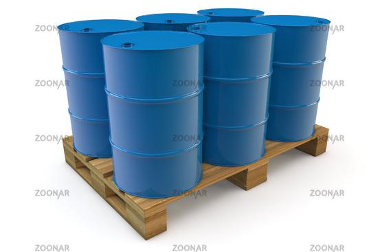 Top Foto Sechs Ölfässer auf Palette Bild #3997216 @RK_63