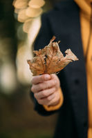Handsome guy holding autumn leave in the park