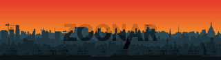 Long city skyline silhouette in a flat style for the footer. Modern cityscape and cargo port with cranes. Layers for parallax. Vector EPS10.