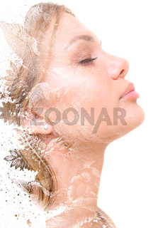 Creative portrait of young woman combined with painting. Paintography