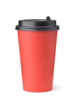Front view of blank red disposable paper cup