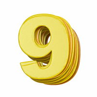Yellow font Number 9 NINE 3D