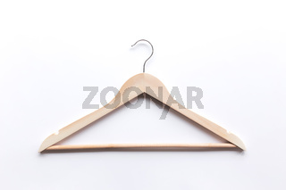 Black Friday or clothing industry concept on white background with wooden hanger