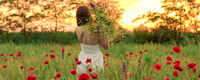 girl in a white dress with a bouquet of daisies goes along the field of red poppies.