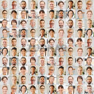 Portrait Collage Arzt und Pflege Team