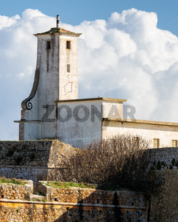 Peniche Fortress with beautiful historic white building and walls, in Portugal