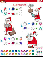 math addition and subtraction task with Santa Claus characters