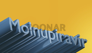 Poltava, Ukraine - 19 October 2021 Molnupiravir pills, treatment of covid. Coronavirus medication, 3d render.Blue text and yellow background