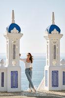 Woman pose in Balcon del Mediterraneo. Benidorm. Spain