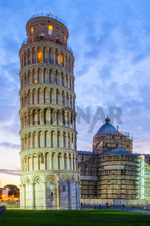 Leaning Tower of Pisa at dusk