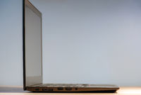 Side view to the slim laptop