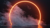neon tube circle with smoke background