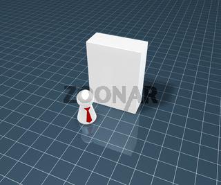 weiße kiste und spielfigur mit krawatte - 3d illustration