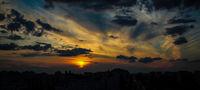 Sunset over housing blocks