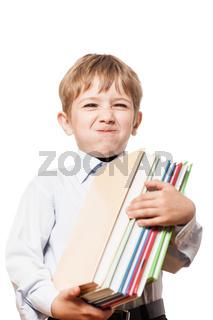 Child holding books