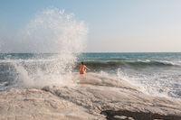 Girl in wave