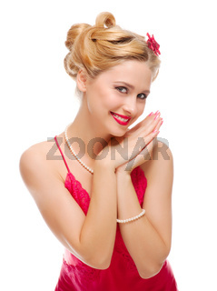 Pretty woman isolated on white