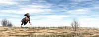 Hare running in the desert - 3D render