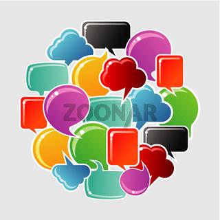 Social bubbles speech set in circle