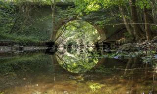 Mecklenburg, Fluss Mildenitz bei Rothen / Borkow, Brücke Mustiner Landstrasse, Urlaub in Deutschland
