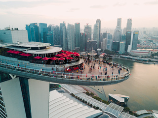 26 FEBRUARY, 2018: Singapore, Marina Bay Sands Luxury Hotel. Quadrupter view.