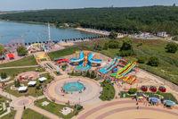 Orhei, Moldova, July 2021: Aerial view of the amusement park Orheiland