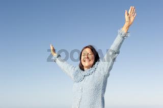 Joyful mature woman isolated