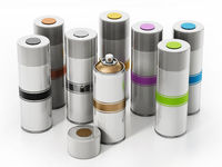 Colorful spray cans isolated on white background. 3D illustration