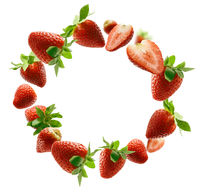Lots of strawberries in the shape of a frame. Isolated on a white background