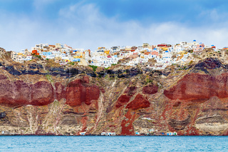 Rocks with Oia on Santorini