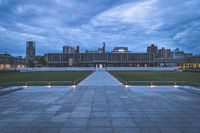 The Hiroshima Peace Memorial Museum in the evening with dramatic cloudscape, Hiroshima, Japan