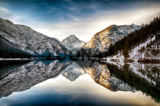Reflection at Plansee (Plan Lake), Alps, Austria