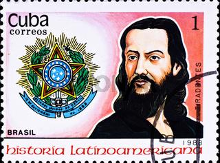 postage stamp shows Jose da Silva Xavier