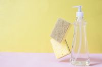 Soap dropper, dishwashing liquid, dish soap, washcloth. Pink, yellow background