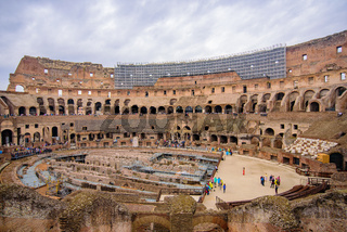Interior of Colosseum, an oval amphitheatre and the most popular tourist attraction in Rome, Italy
