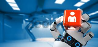 Robot Hand Cube Human
