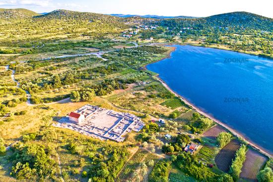 Pirovac. Ivinj archeological site with Saint Martin Church aerial view