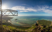 Mauritius - holiday paradise view from its popular mountain Le Morne Brabant, view at the ocean.