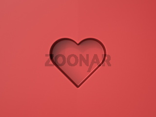 Abstract minimal red heart 3D