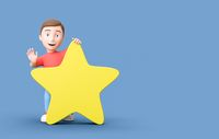 Young 3D Cartoon Character with a Star Shape on Blue Background with Copy Space
