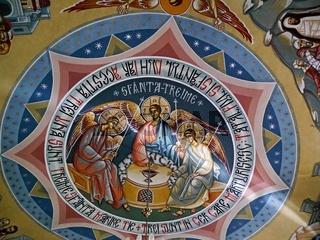 Fresco on ceiling, Orlat monastery, Transylvania, Romania
