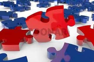 Puzzleteile fallen auf Boden