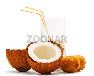 coconut, kiwi and glass with coco milk