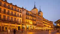 Plaza Mayor in Segovia at dusk
