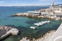 Looking from Malmousque at the Vallon des Auffes and the war memorial