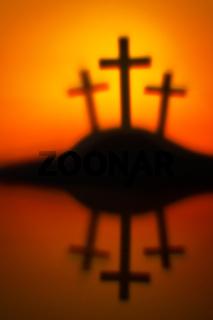 Drei Kreuze, Symbol für Jesus Kreuzigung in Golgatha